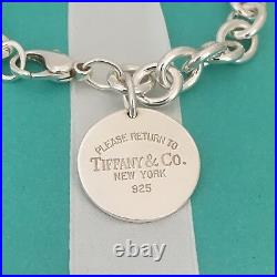 Large 8.75 Please Return to Tiffany & Co Silver Round Tag Dangle Charm Bracelet