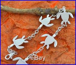 Larimar Turtle Bracelet-Sterling Silver-Sea Honu, Chain, Charm, Cute, Fashion, Gift