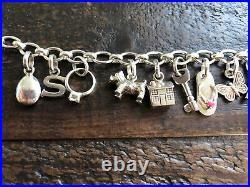 Links Of London Charm Bracelet With 13 Charms All Genuine & Sterling Silver