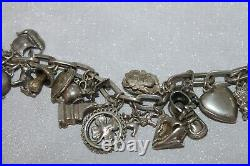 Loaded ANTIQUE Sterling Silver RARE 24 Charm Bracelet Heavy 70 g