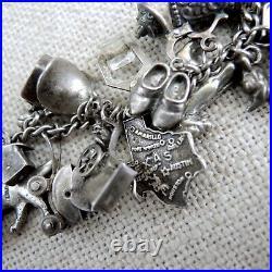 Loaded Sterling Silver 31 Charm Bracelet Lots of Articulated Moveable Vtg Disney