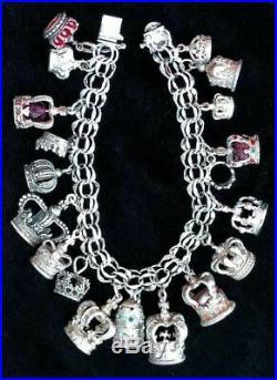 Loaded Vintage Sterling Silver CHARM BRACELET 19 CROWN CHARMSElco Bracelet, FJT