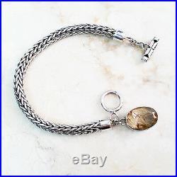 Lori Bonn Vintage Oval Rutilated Quartz Charm Sterling Silver 7-1/4 Bracelet