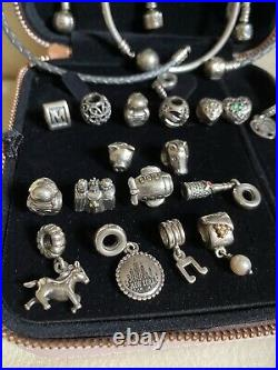 Lot Of Pandora Sterling Silver Bangle Bracelets With Charms Boxes 130.8 grams