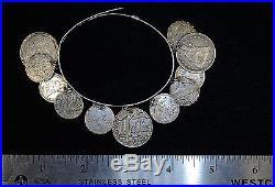 Love Token Charm Bracelet Liberty Seated Quarter Dime Silver Vintage 11 Coins