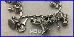 Magnificent Vintage Estate Sterling Silver 925 3-d Original 20 Charm Bracelet