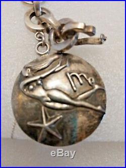 Mcm vtg Margot de Taxco Mexican silver zodiac Charm Bracelet Rare Virgo 3.8 oz
