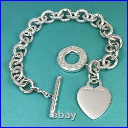 Medium Tiffany & Co Sterling Silver Blank Heart Tag Toggle Charm Bracelet