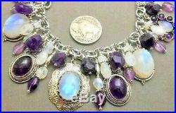 Moon stone, Amethyst Native Southwest charm bracelet Sterling silver signed