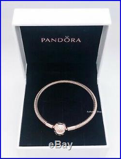 NEW Authentic PANDORA Rose 14K Gold Logo Clasp Moment Charm Bracelet #580728