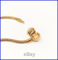 NEW Authentic PANDORA Shine 18k Gold Smooth Chain Logo Charm Bracelet #567107