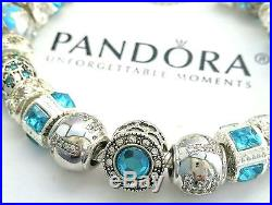 NEW Authentic PANDORA Sterling Silver BRACELET with European Beads & Charms #42