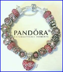 NEW Authentic PANDORA Sterling Silver BRACELET with European CHARMs & Beads #41