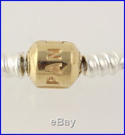 NEW Pandora Sterling Silver With 14k Gold Clasp Charm Bracelet 590702HG-23 9.1