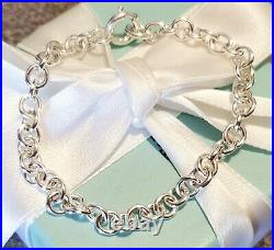 NEW Tiffany & Co Sterling Silver Rolo Chain Link Clasping Charm Bracelet Circle