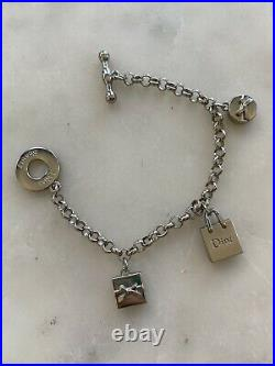NEW withBox DIOR Bracelet Logo Charms Authentic Dior Beauty Silver Monogram 7.5