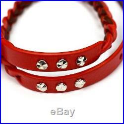 NWT $365 Alexander McQueen Men's Red Double Wrap Skull Charm Bracelet AUTHENTIC