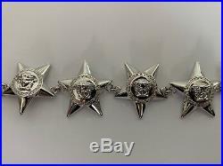 NWT VERSACE Medusa Logo Greek Key Star Charm Silver Tone Line Bracelet with Box
