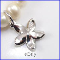 Na Hoku Sterling Silver White Pearl Strand Plumeria Charm Bracelet 7.25 LFD2