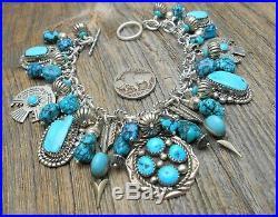 Native Southwest charm bracelet Turquoise Sterling silver