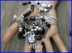 Native Southwest charm bracelet White Buffalo Stone Sterling silver Sqashblossom