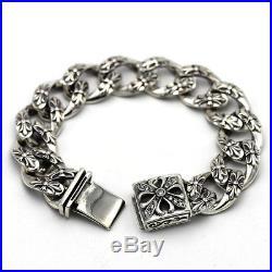 New! 925 Pure Sterling Silver Heavy Punk Rock Chain Cross Charm Biker Bracelet