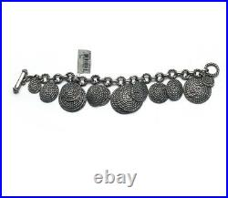 New DAVID YURMAN Darkened Sterling Silver Cable Coil Charm Bracelet Size Small