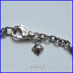 New DAVID YURMAN Lock and Key Charm Bracelet in Diamond and Silver 6.75 NWT