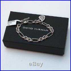 New DAVID YURMAN Pave Heart Charm on Figaro Bracelet Diamond Silver 7.5 $695
