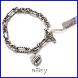 New DAVID YURMAN Pave Heart Charm on Figaro Bracelet Diamond Silver 7.5 NWT