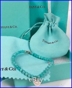 f3fce10962c9 New Return to Tiffany Silver Heart Charm Amazonite Blue Mini Bead Bracelet
