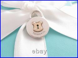 New Tiffany & Co Silver 18k Gold Circle Lock Charm Pendant 4 Bracelet /necklace