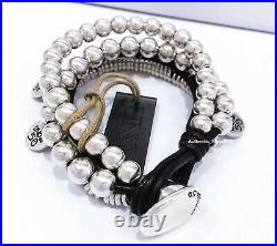 New Uno De 50 Silver Tone What A Mess! Chunky leather Beaded Toggle Bracelet