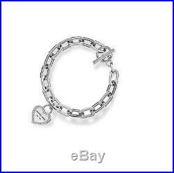 New-michael Kors Silver Tone Chain Link, Pave Heart Charm Bracelet Mkj5393
