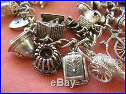 Nuvo Vintage Sterling Silver Charm Bracelet With 25 Nuvo Charms
