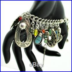 OOAK Loaded SOUTHWESTERN Sterling Silver Double Curb Link Charm Bracelet 925 8