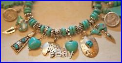 Old Pawn Native American Turquoise Sterling Silver Medicine Bear Charm Bracelet