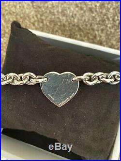 Original Tiffany & Co Sterling Silver Heart Tag Charm Chunky Bracelet no 925
