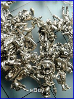 Over 40 Walt Disney Charms 150.25 grams Vintage Sterling Silver Charm Bracelet