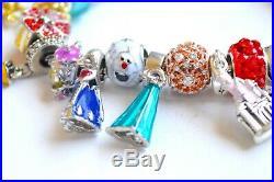PANDORA 925 Bracelet & European Charms Disney Princess Elsa Fairytale Bell Dress