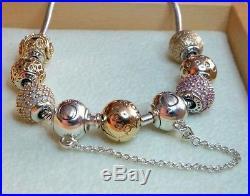 0c608ebee PANDORA Essence 925 Silver & 14k Gold Bracelet 7.9 596003-20 with 7 Charms