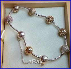 fccdcb212 PANDORA Essence 925 Silver & 14k Gold Bracelet 7.9 596003-20 with 7 Charms