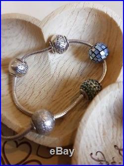 PANDORA Essence Bracelet +charms Happiness, Wisdom, Balance, Prosperity, Gemini