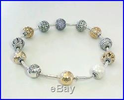 de5ffa3df PANDORA Essence Silver & 14k Gold Clasp Bracelet 8.3 596003-21 & 11 ...
