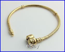 PANDORA Silver Bracelet 18K Gold Plated 590702HV Authentic Charm Bracelet