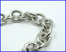 PLEASE RETURN to TIFFANY & CO Sterling Silver HEART TAG Charm Oval Link Bracelet