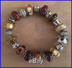 c7682833d Pandora 14K FULL 585 Bead 24 murano 23 cm spacer Gold 2 Tone bracelet bead  charm