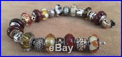 Pandora 14K FULL 585 Bead 24 murano 23 cm spacer Gold 2 Tone bracelet bead charm