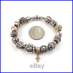 Pandora 14K Gold Sterling Silver Natural Diamond LOADED Charm Bracelet QXE30
