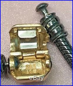 Pandora 14k Gold Clasp Oxidized Silver Charm Bracelet New 590702-og 7.5 19